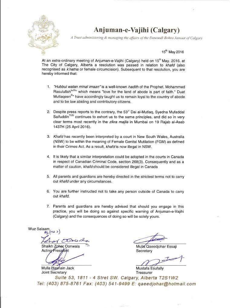 Dawoodi Bohra Resolutions Against Khafd/Khatna (FGC) – SAHIYO