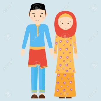 couple man woman wearing brunei islamic traditional costume clothe dress male female vector illustration veil and malaysia malay